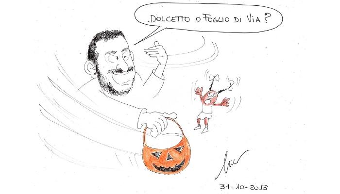 Salvini dolcetto o foglio di via Halloween