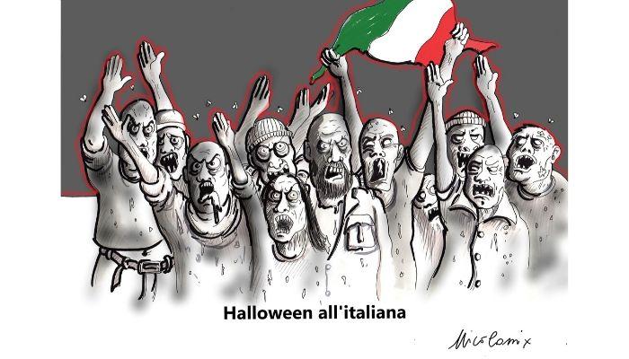 Halloween all'italiana - elezioni in Umbria: la destra vince e tra pochi giorni è Halloween. Nicocomix