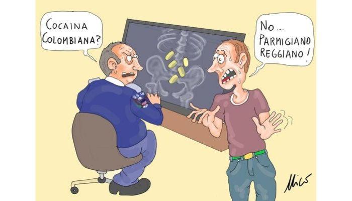 Trafficante di Parmigiano Reggiano - dazi U.S.A - vignette satira politica - Fumetti - Nicocomix