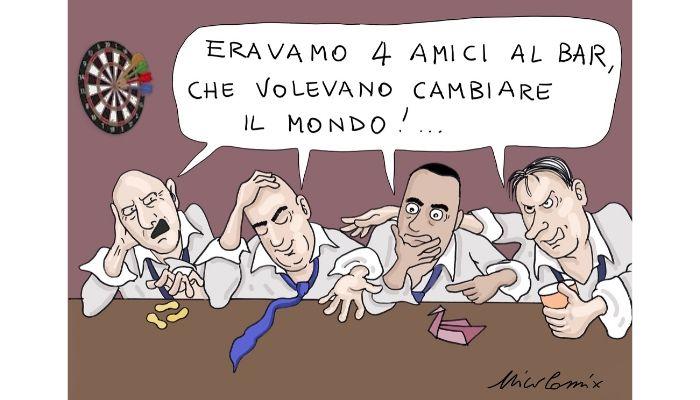 Umbria da dimenticare - Rovinose elezioni in Umbria per il governo Giallo rosso. Bianconi, Zingaretti, Di Maio e Conte sono al bar a bere per dimenticare. Nicocomix