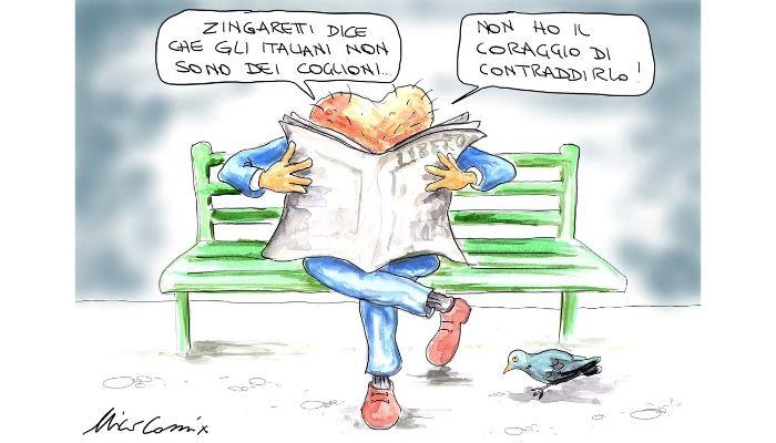 """coglioni -  Zingaretti , durante la trasmissione """"Non è l'arena"""" condotta da Massimo Giletti  , fa una rivelazione al popolo italiano. Nicocomix"""