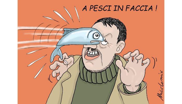 A PESCI IN FACCIA . Le piazze si riempiono di sardine, una protesta di un movimento che con il suo Omega3 critica Salvini, il fascismo, i porti chiusi... Nicocomix