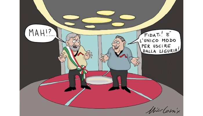 Liguria Enterprice . Il sindaco Marco Bucci e il governatore della regione Liguria nei panni dei protagonisti della serie Star Treck. Dopo l'ultimo crollo del viadotto sulla A6 il teletrasporto è l'unico modo per lasciare la regione. Nicocomix