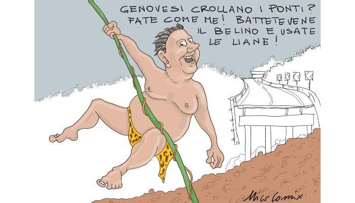 Toti della giungla . Il presidente della regione Liguria Giovanni Toti nei panni di un Tarzan ligure che opta per spostamenti tramite liane a causa di continue frane e cedimenti. Nicocomix