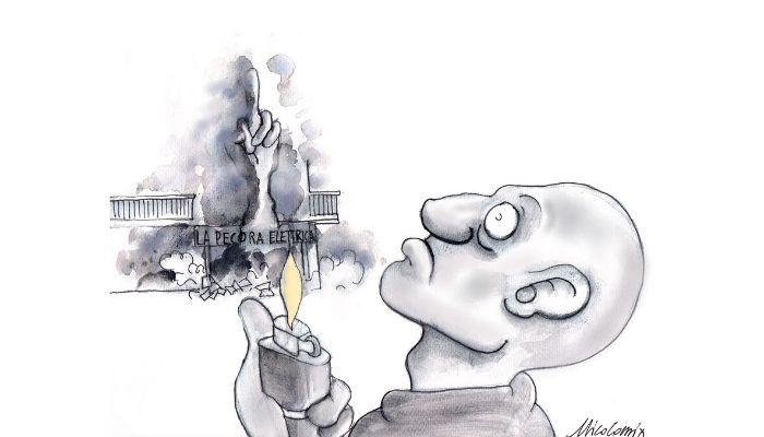 """segnali di fumo . la libreria antifascista  """"la pecora elettrica """" è stata nuovamente distrutta da un incendio doloso. Nicocomix"""