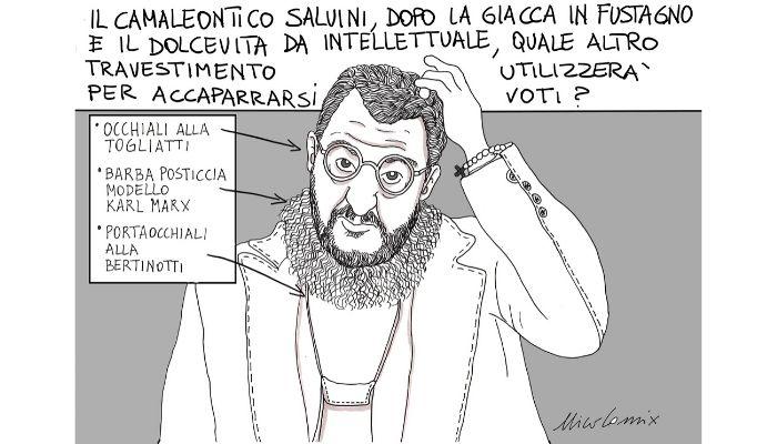 Il camaleonte. Quale altro travestimento escogiterà Salvini per accaparrarsi voti? Nicocomix