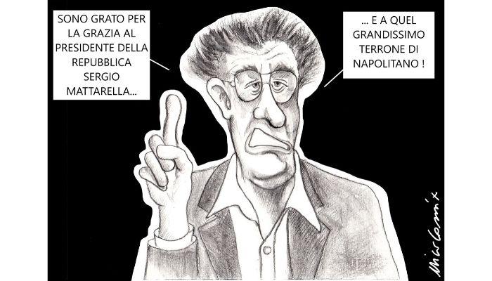 VILIPENDIO . Umberto Bossi riceve la grazia dal presidente della Repubblica Mattarella e da Napolitano. Nicocomix