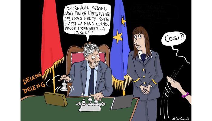 alzare la mano per parlare . Il presidente Conte contestato sul Mes da Giorgia Meloni. Nicocomix