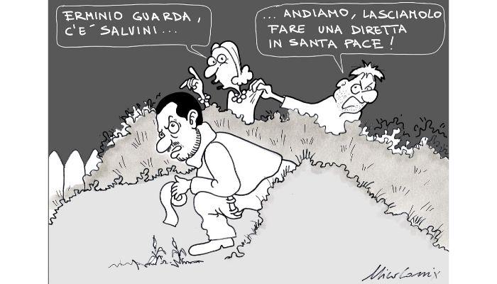 diretta facebook . Salvini immortalato mentre fa una diretta Facebook. Nicocomix