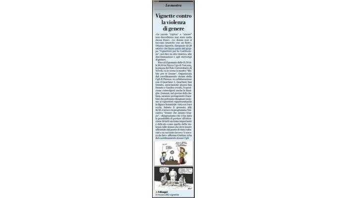 """Articolo su Repubblica di Firenze . Mostra """"MAtite per le donne """" a Firenze. Una mia vignetta è stata pubblicata con citazione battuta . Nicocomix"""