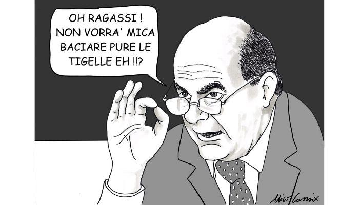 Giù le mani dalle Tigelle . La mia vignetta su Pier Luigi Bersani che si augura che Salvini non baci anche le Tigelle. Elezioni Regionali in Emilia Romagna di Domenica 26 Gennaio 2020. Nicocomix