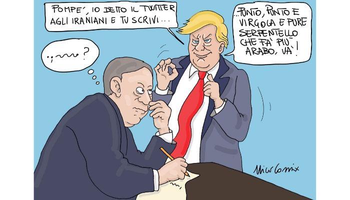 Twitter Trumpiano . Trump twitta in arabo al popolo iraniano. Nicocomix