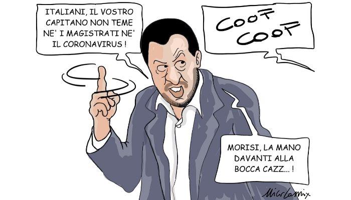 la mano davanti alla bocca . Salvini e il coronavirus . Nicocomix
