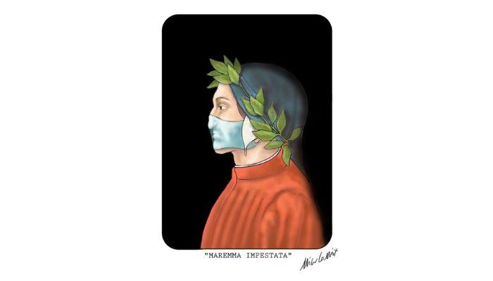 Dante Alighieri al tempo del coronavirus. Il 25 marzo è il gioeno in cui si celebra il Dantedì. Nicocomix