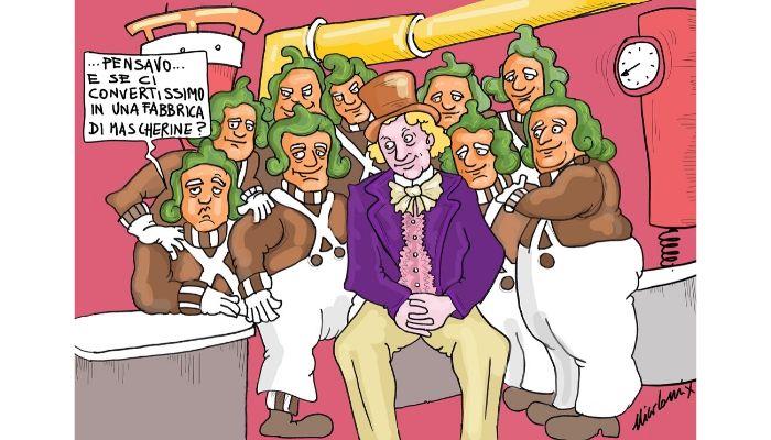 La fabbrica di cioccolato . anche Willy Wonka ricicla la sua fabbrica e si mette a produrre mascherine. Nicocomix
