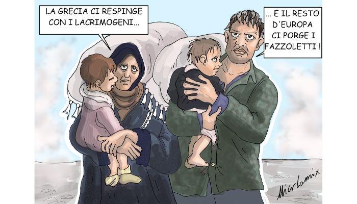 lacrimogeni compassionevoli . Profughi siriani ammassati ai confini della Grecia e respinti con i gas lacrimogeni. Nicocomix