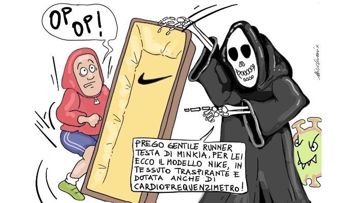 modello Nike . Dedicata a tutti i runner che nonostante il coronavirus si ostinano ad andare a correre. #iorestoacasa! Nicocomix