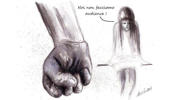 audience .la violenza di genere non conosce sosta neppure durante la quarantena, le donne sono sempre più isolate e impossibilitate di chiedere aiuto. Nicocomix