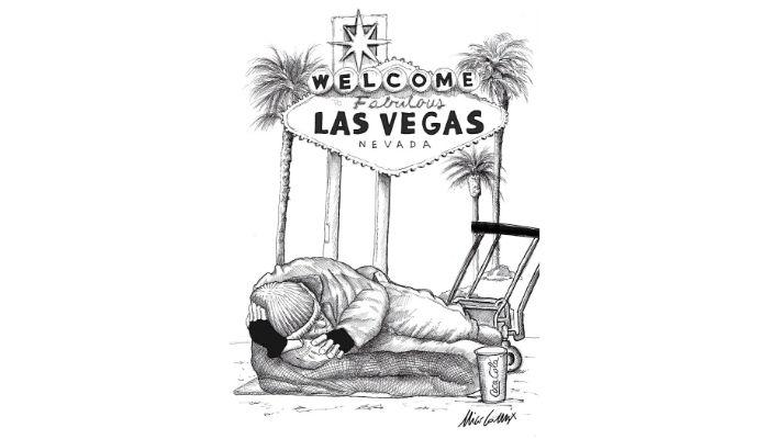 """il sogno americano . I senzatetto """"posteggiati"""" in uno spiazzo a Las Vegas per l'emergenza coronovirus . Nicocomix"""