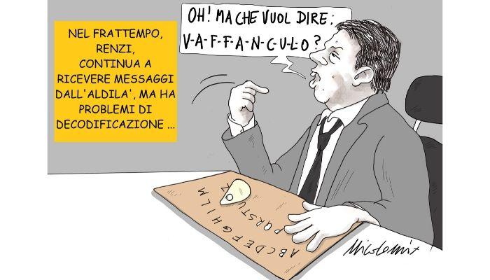 Renzi e la tavoletta Ouija . Renzi tira in ballo i morti di bergamo e Brescia per avvalorare la sua idea di riapertura. Nicocomix