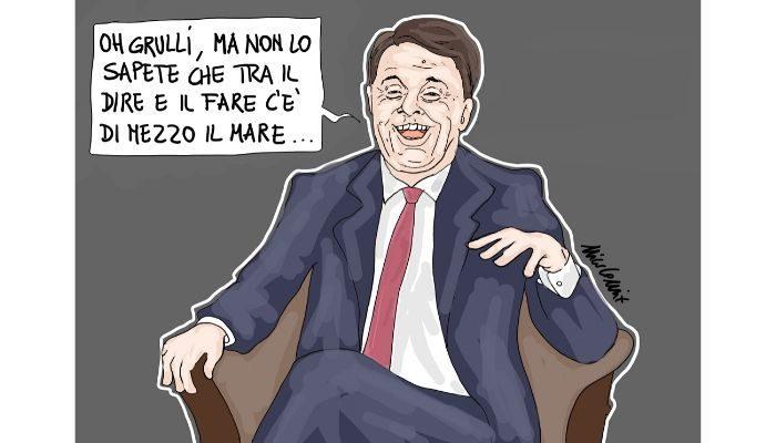 Renzi l'ipocrita . Renzi salva salvini sul caso Open Arms. Nicocomix