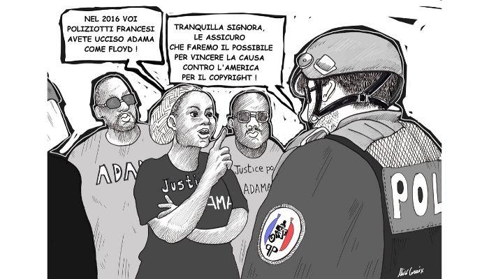 Copyright . Proteste anche in Francia sull'onda anti razzista dopo l'uccisione di Floyd. Nicocomix