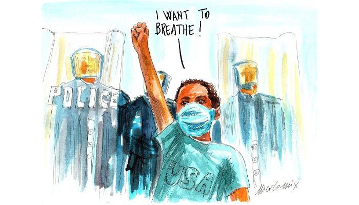 I want to breathe . Proteste USA per la morte di George Floyd . Nicocomix