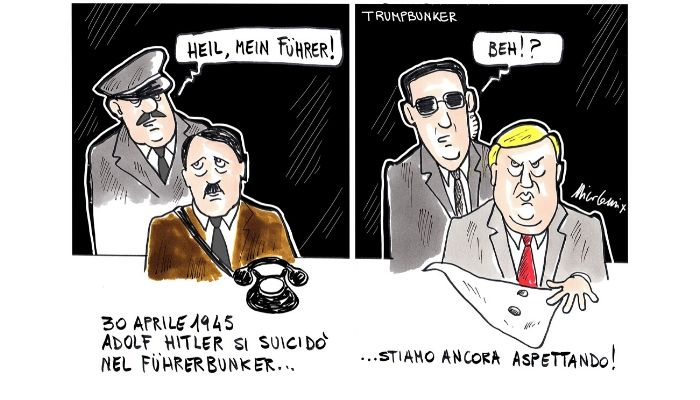 Trumpbunker .  Durante le proteste per l'uccisione di George Floyd, il Presidente Donald Trump viene accompagnato nel bunker della casa bianca per la sua incolumità. Nicocomix