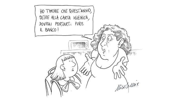 Carta igienica e banco . Riuscirà la Ministra Lucia Azzolina a provvedere in tempo alla consegna dei banchi alle scuole? Nicocomix