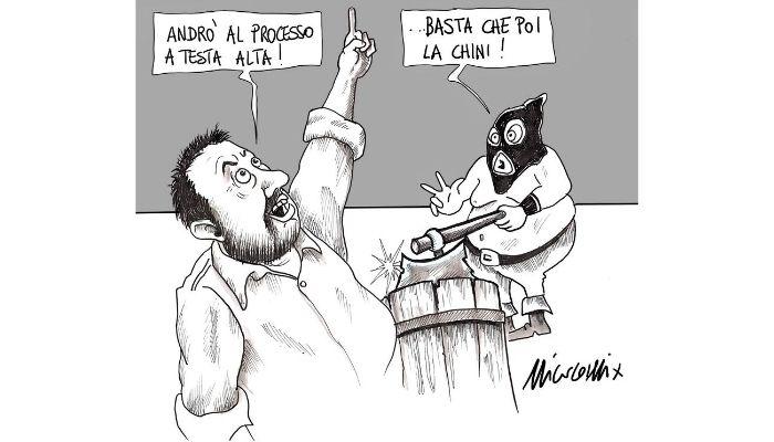 giù la testa . Salvini a testa alta va al processo Open Arms . Nicocomix
