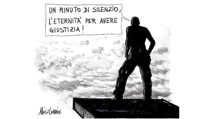 1 minuto di silenzio . Anniversario della caduta del Ponte Morandi di Genova. Nicocomix