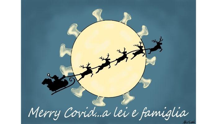 Merry Covid a lei e famiglia. Saranno questi i nuovi biglietti che ci scambieremo a Natale per augurarci Merry Christmas ? Nicocomix