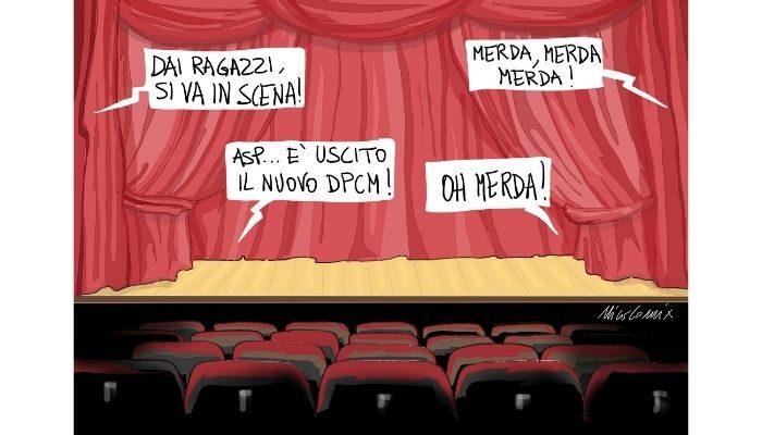 Merda, merda, merda! Dpcm, cinema e teatri chiusi. Nicocomix