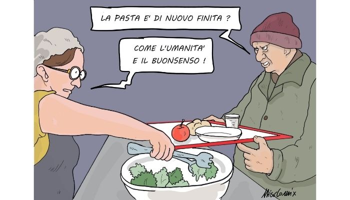 sempre con i più poveri . A Genova la polizia municipale multa la coda di indigenti alla mensa dei poveri. Nicocomix