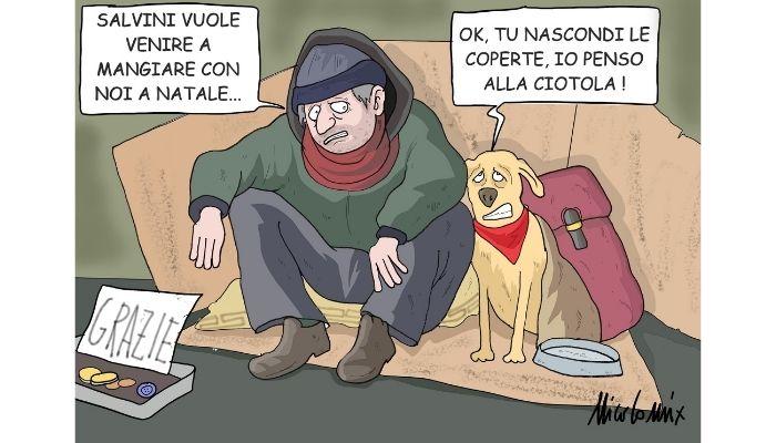 Natale salviniano . Salvini pur di far parlare di se vuole andare a mangiare il giorno di natale con i senzatetto. Peccato che spesso la Lega si sia macchiata di atti vergognosi proprio contro i clochard . Nicocomix