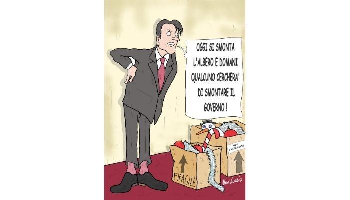 Smontare l'albero di Natale. Renzi contro Conte. Nicocomix