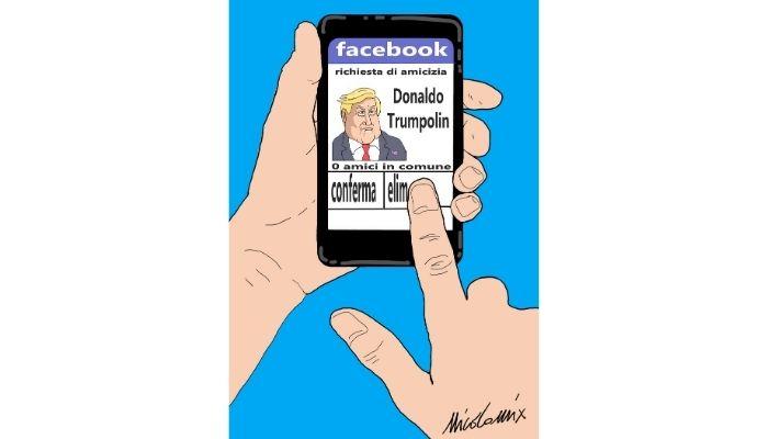 richieste di amicizia. Da quando Facebook e twitter hanno bloccato il profilo di Donal trump mi stanno arrivando strane richieste di amicizia da account fasulli. Nicocomix