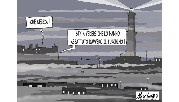 Caligo . Una fitta nebbia ha avvolto la città di Genova . Nicocomix
