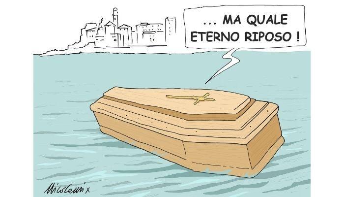 ETERNO RIPOSO. Camogli, Genova. Non c'è pace neppure per i morti in una regione che frana e che è, a sua volta, governata da una giunta che è una frana! Nicocomix