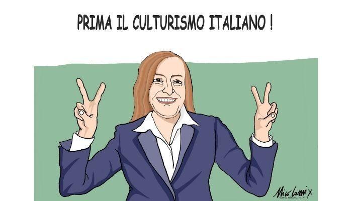 Prima il culturismo italiano . Lucia Borgonzoni sottosegretaria alla cultura nel governo Draghi. Nicocomix