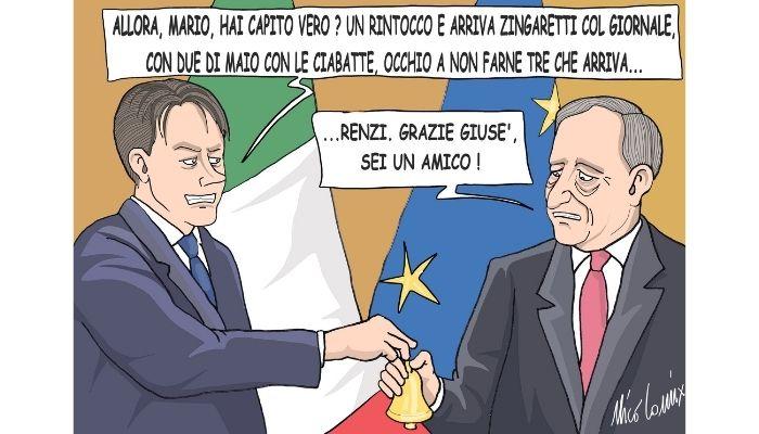 la campanella . Il ruto della campanella a Palazzo Chigi tra Conte e Draghi. Nicocomix