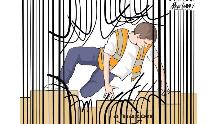 Amazon schiavi . Sciopero lavoratori Amazon Italia. Nicocomix