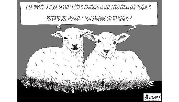 Ecco il carciofo di Dio. Non mangiate carne di agnello. Nicocomix