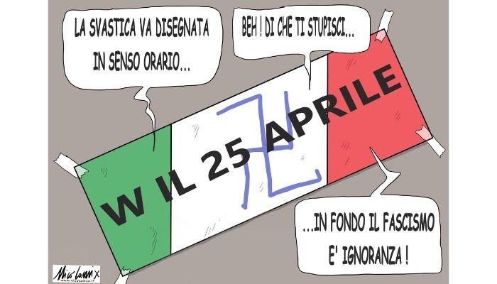 mancano i fondamentali. svastiche disegnate nella notte sulle bandiere del 25 aprile a Genova Sampierdarena . Nicocomix